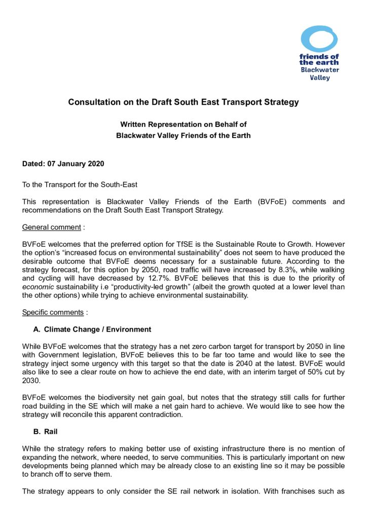 thumbnail of Blackwater Valley response to Draft SE Transport Strategy