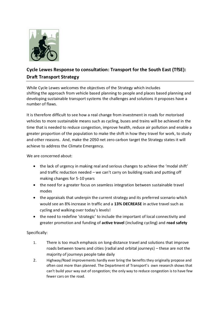 thumbnail of CycleLewesTfSEdrafttransportStrategyJan2020