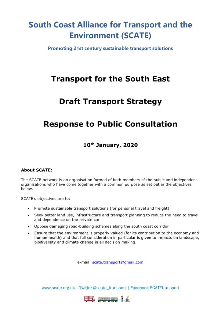 thumbnail of SCATE TfSE draft transport strategy response