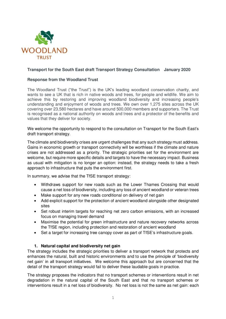 thumbnail of TfSE draft Transport Strategy Consultation – Woodland Trust response – Jan 2020