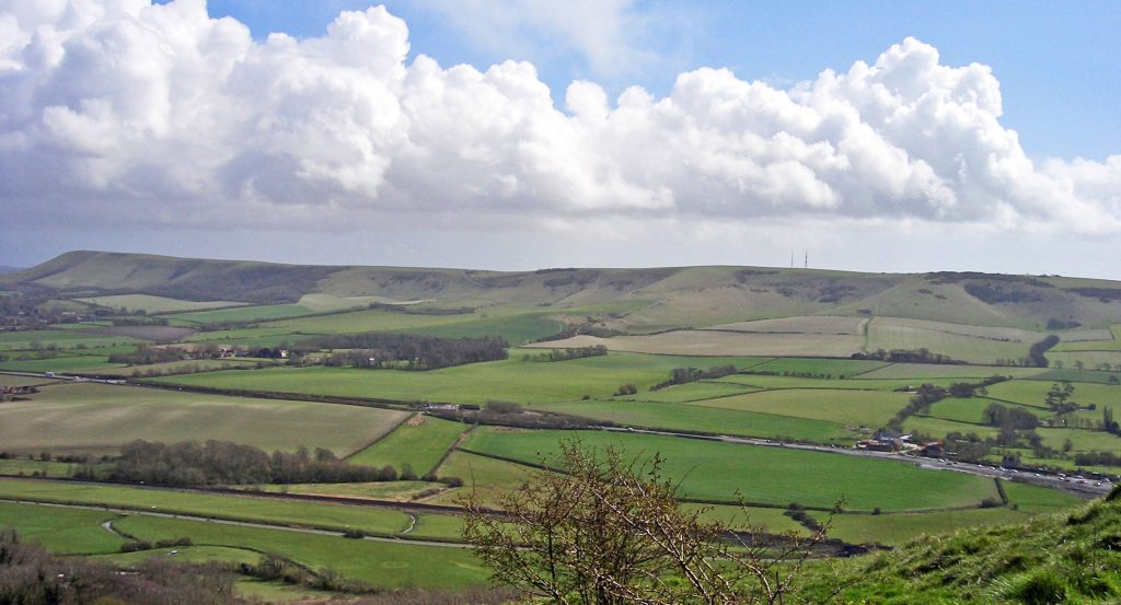 View of A27 and scarp slope from Mount Caburn