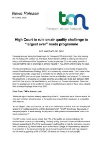 thumbnail of Campaigners roads air quality challenge PR